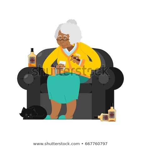 African American Grandmother drinks alcohol Smoke cigar. old wom Stock photo © popaukropa