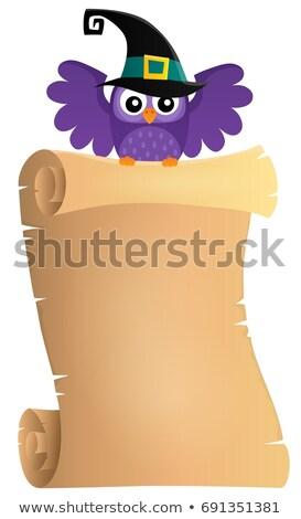 Halloween uil perkament papier vogel Stockfoto © clairev