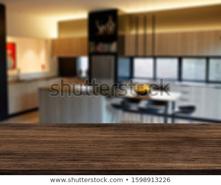 blur background white kitchen with blue ceramic tiles stock photo © artjazz