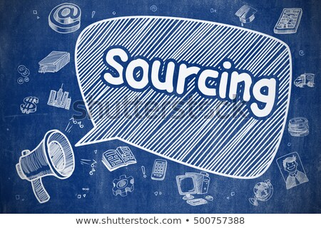 Outsourcing - Cartoon Illustration on Blue Chalkboard. Stock photo © tashatuvango
