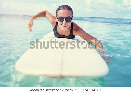 Nő szörfdeszka bikini szörfözik áll kint Stock fotó © IS2