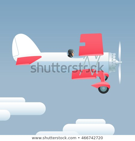 Small airplane poster with propeller aircrafts Stock photo © studioworkstock