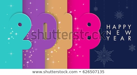 Merry Christmas Party illustration with holiday typography designs in abstract glass ball on shiny c Stock photo © articular