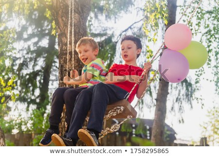 two boys playing on hand swing stock photo © bluering