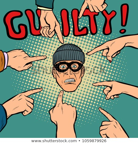 guilty thief robber, hands point to the center Stock photo © studiostoks