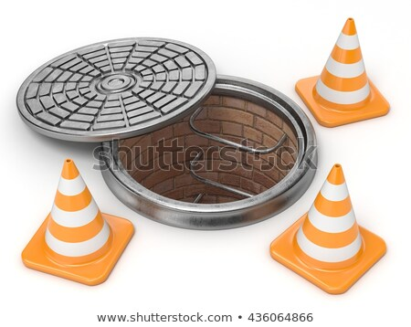 Manhole traffic cone and barrier 3D Stock photo © djmilic