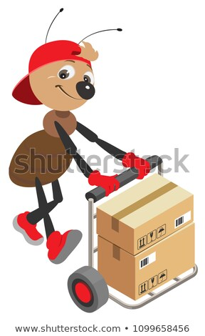 Ant loader rolls cart with cardboard boxes Stock photo © orensila