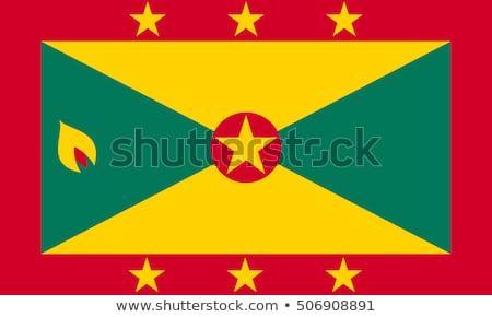 Grenada zászló fehér keret felirat kék Stock fotó © butenkow