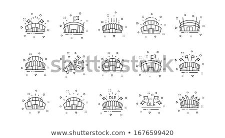 Stadium set. Football arena icon. Sports building symbol. Vector Stock photo © MaryValery