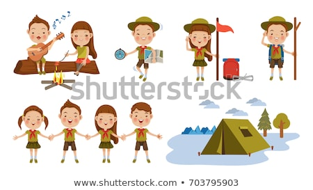 A set of scout boy character Stock photo © bluering