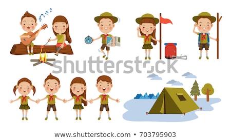 Conjunto escoteiro menino ilustração feliz Foto stock © bluering