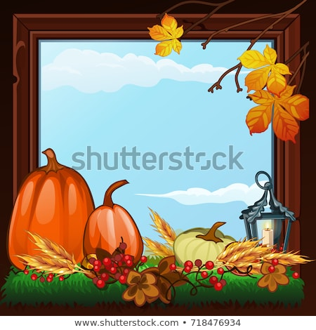 stylish poster on theme of golden autumn composition of dry twigs pumpkin and yellowed leaves of t stock photo © lady-luck