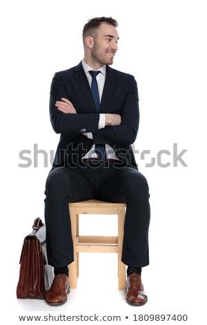 jeune · homme · costume · rire · président · bureau · affaires - photo stock © feedough