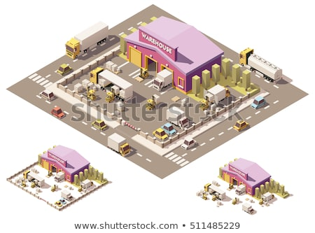 vector isometric low poly warehouse equipment stock photo © tele52