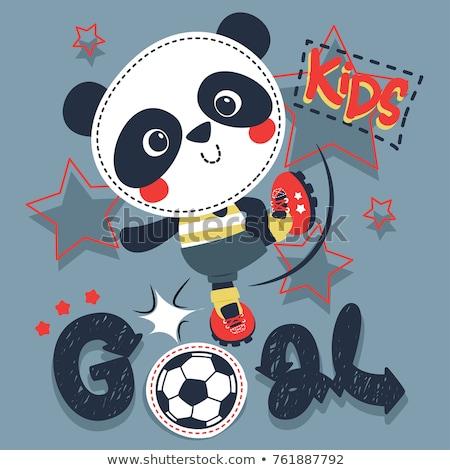 Cartoon panda fútbol patear ilustración Foto stock © cthoman
