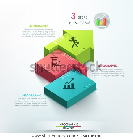 Three arrow steps and stairs connecting 3D Stock photo © djmilic