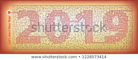 Labyrinthe nouvelle année app mystère labyrinthe crypté Photo stock © Olena