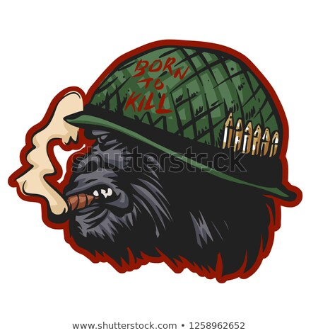 Rajz mérges katona csimpánz néz sisak Stock fotó © cthoman