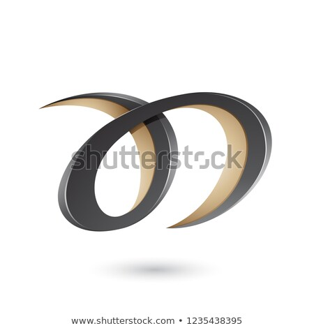 Black and Beige Curvy Letter A and D Vector Illustration Stock photo © cidepix