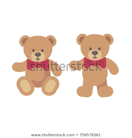 Teddy bear sitting and standing flat illustration. Christmas pre Stock photo © IvanDubovik