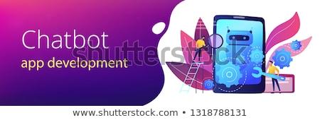 Chatbot app development concept banner header. Stock photo © RAStudio