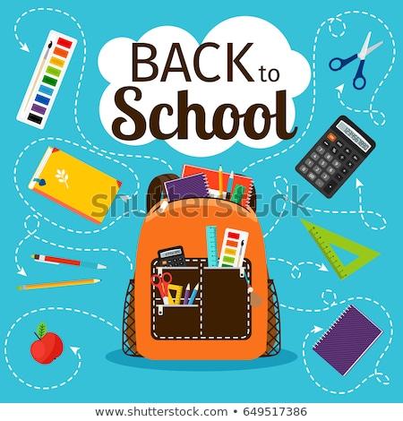 канцтовары Снова в школу плакат правителя Сток-фото © robuart
