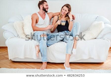 casal · potável · café · café · da · manhã · cozinha · sorrir - foto stock © ruslanshramko