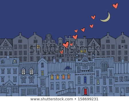 Hold lakásügy lakóövezeti ingatlan vektor művészet Stock fotó © vector1st