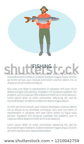 Guy and Fresh Fish Catch Fishery Vector Poster Stock photo © robuart