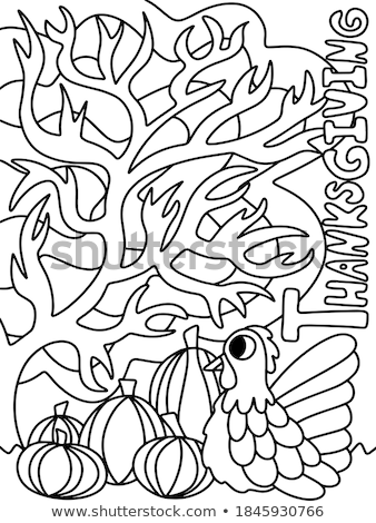 Happy Thanksgiving Turkey and Veggie Poster Vector Stock photo © robuart