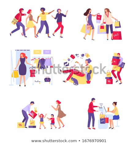 Shopping Food Buying and Clothes Trying Vector Stock photo © robuart