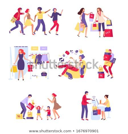 Vásárlás étel vásárol ruházat vektor szett Stock fotó © robuart