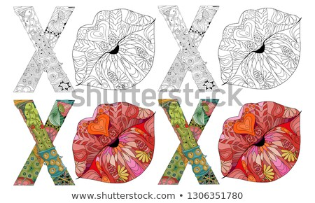 word xoxo with silhouette of lips vector decorative zentangle object color and outline set stock photo © natalia_1947