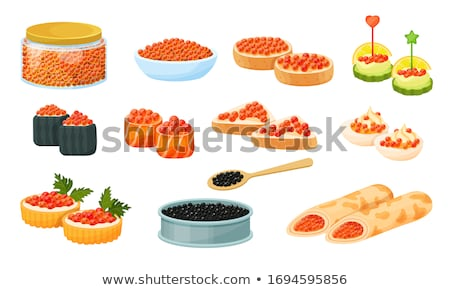 Sandwich noir poissons caviar isolé alimentaire Photo stock © MaryValery