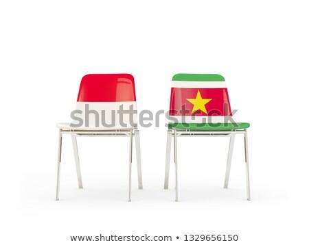 Iki sandalye bayraklar Endonezya Surinam yalıtılmış Stok fotoğraf © MikhailMishchenko