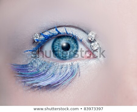 blue eye fashion makeup closeup macro winter feather stock photo © lunamarina
