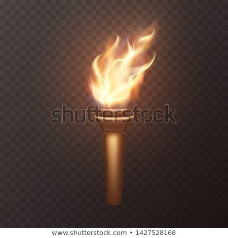Vektör ayarlamak el feneri ışık Metal endüstriyel Stok fotoğraf © olllikeballoon