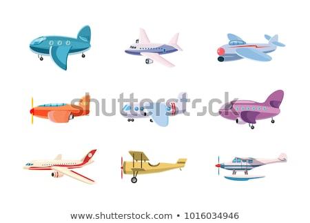 Cartoon · pequeño · avión · nubes · velocidad · rápido - foto stock © vetrakori