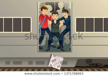 Passenger Drop a Package from the Train Illustration Stock photo © artisticco