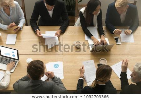 vista · reunión · mesa · laptops · debate - foto stock © AndreyPopov