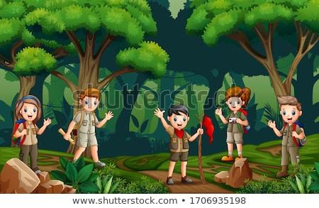Csoport felderítő felfedez erdő illusztráció természet Stock fotó © bluering