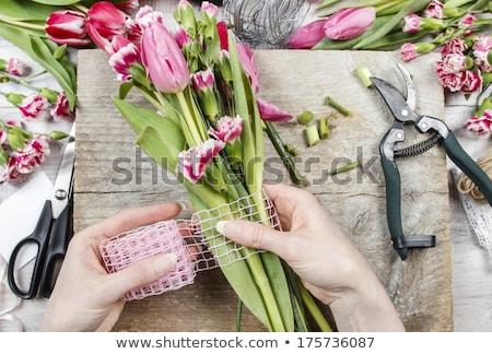 tulipán · rózsaszín · piros · virág · lakberendezés · tavasz - stock fotó © ElenaBatkova