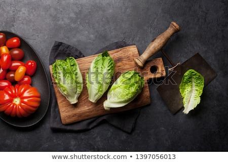 mini romaine lettuce salad and tomatoes stock photo © karandaev