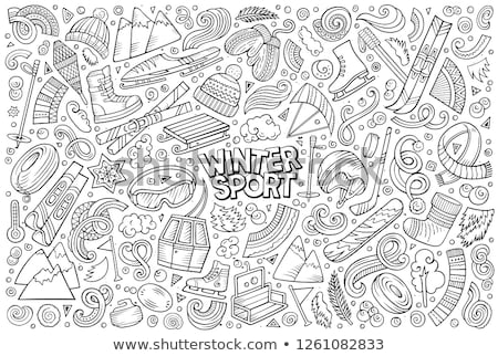 doodle cartoon set of winter sports objects and symbols stock photo © balabolka