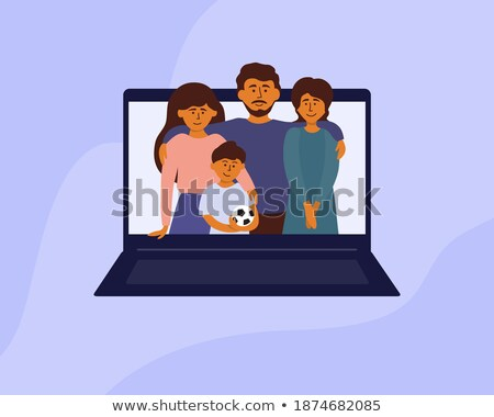 Mother Standing with Son and Daughter Web Vector Stock photo © robuart