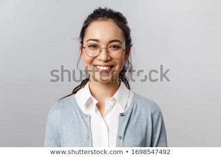 Közelkép portré gyönyörű fiatal nő szemüveg arc Stock fotó © serdechny