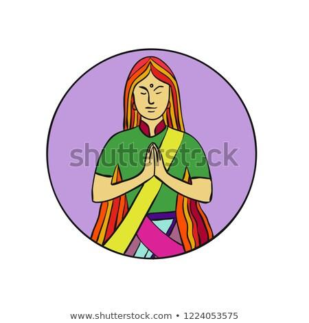 Indiai nő kezek együtt namaste vonal Stock fotó © patrimonio