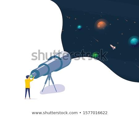 yandan · görünüş · adam · teleskop · boyama · beyaz - stok fotoğraf © robuart
