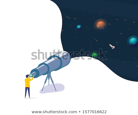 Сток-фото: астрономия · человека · телескопом · луна · вектора