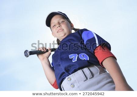 Baseball meisje blauwe hemel kind portret kid Stockfoto © Lopolo